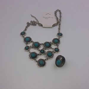 Turquoise Ring & Necklace Set